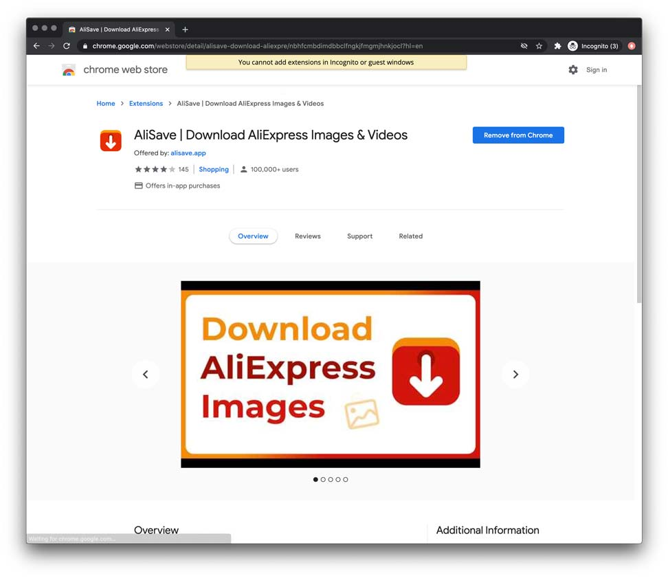 Alisave is the best free google chrome extension for downloading aliexpress product images