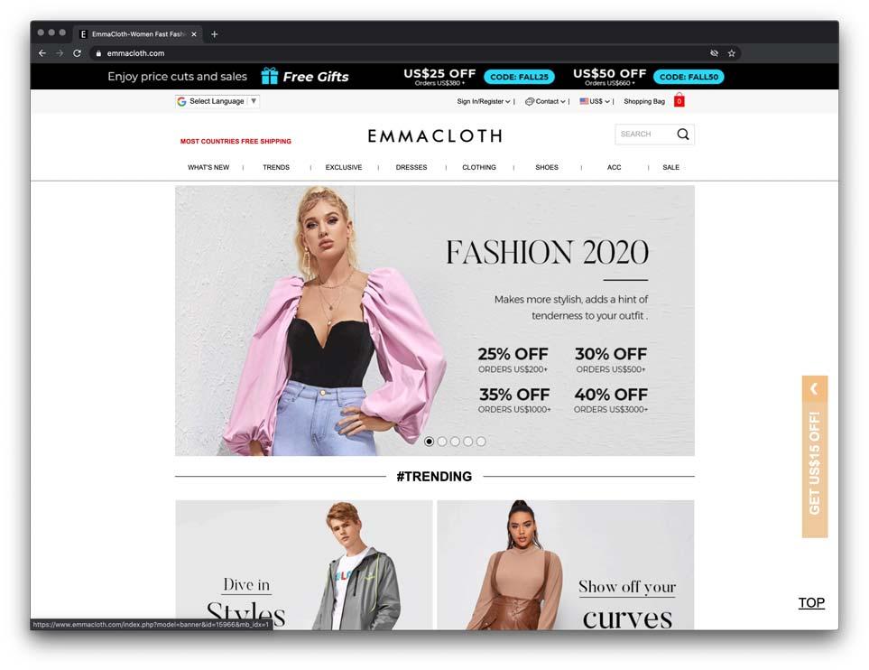 shein alternative for dropshipping: emmacloth