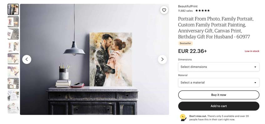 Personalized couple art prints sell really well on Etsy