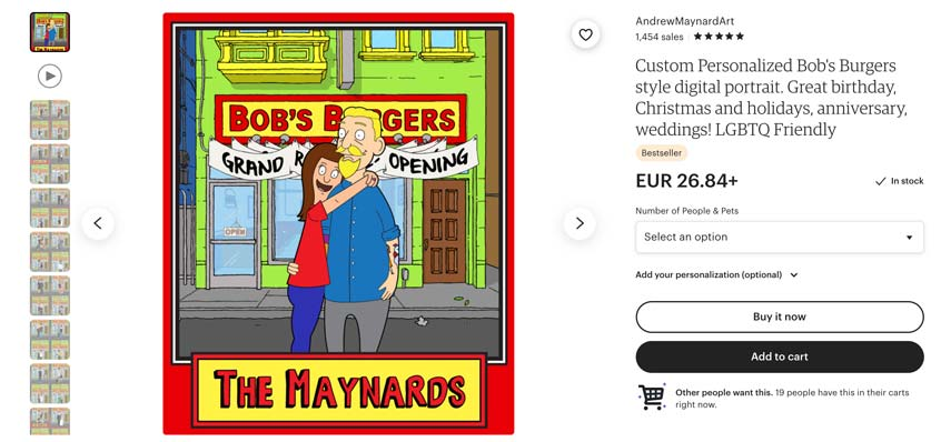 Customized couple art prints sell really well on etsy