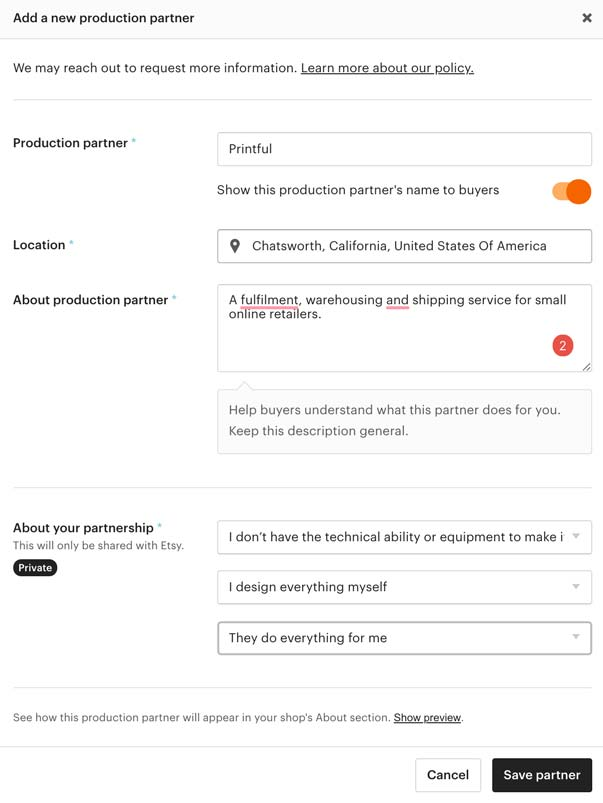 How to add Printful as your print on demand production partner for Etsy