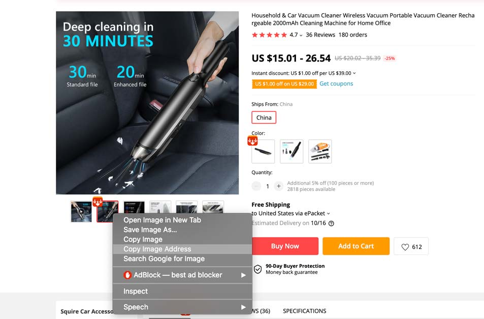Here's how you can easily save an aliexpress product image without it turning into a webP file.