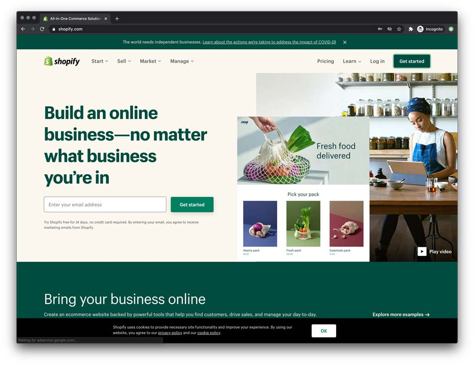 shopify is the best way to start your own ecommerce store so you can start selling online