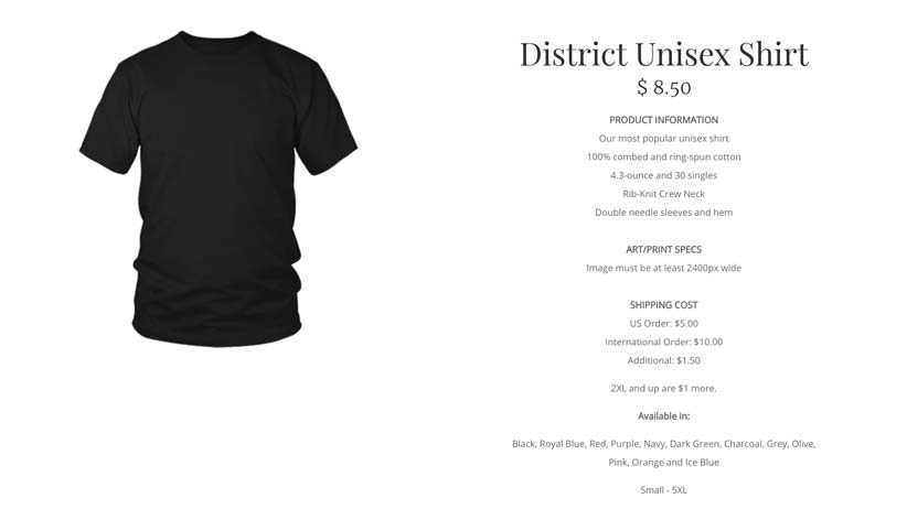 the district unisex shirt is teelaunch's cheapest t-shirt