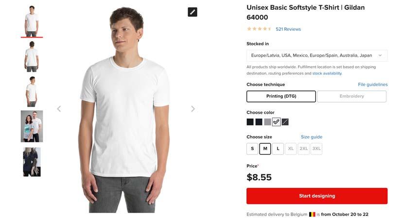 The Gildan 64000 is printful's cheapest t-shirt