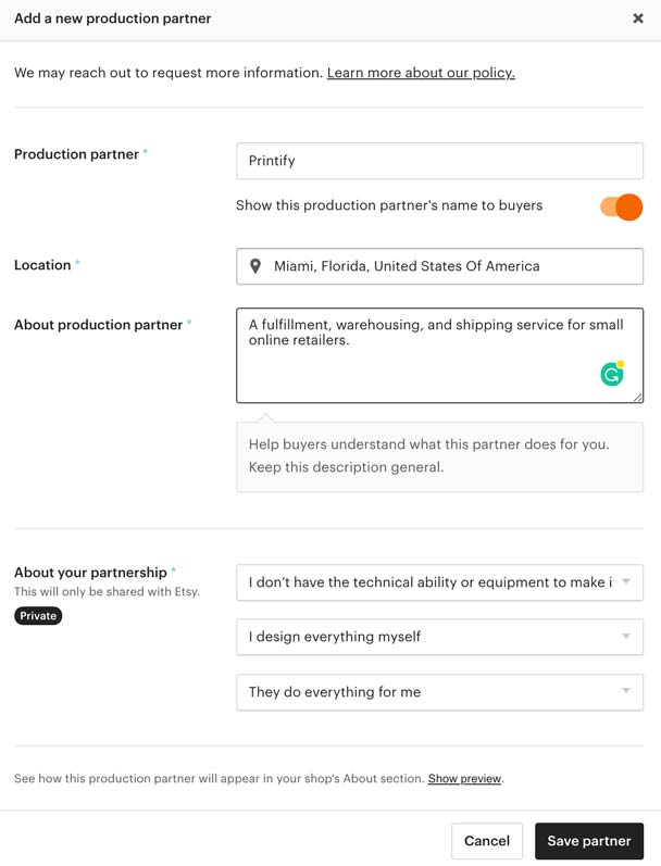 How to add Printify as your production partner on Etsy