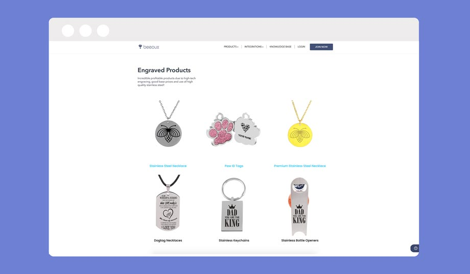 beeoux is a print on demand company that specializes in jewelry