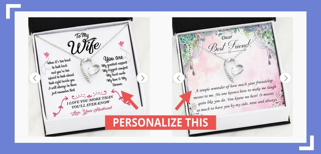 you can personalize the cards behind jewelry with shineon