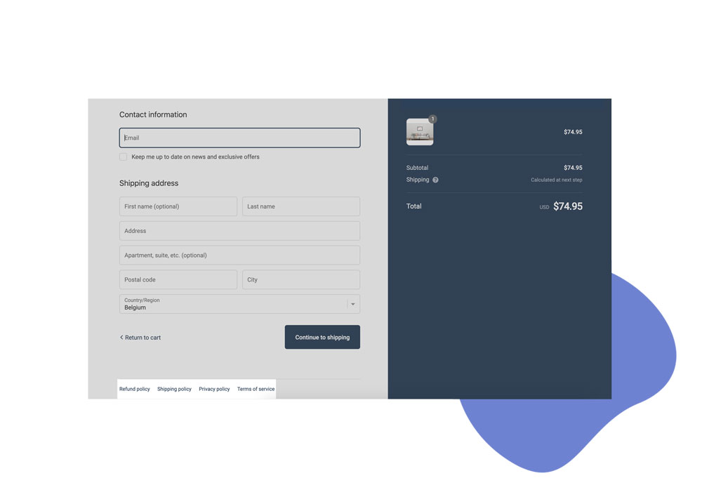 Example of Shopify checkout legal pages