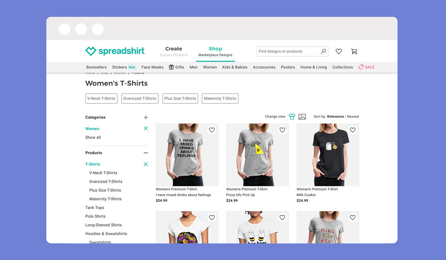 Spreadshirt is a print on demand marketplace that functions in a similar fashion to redbubble