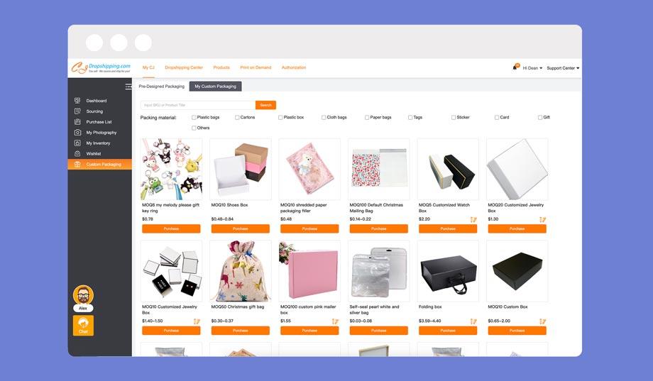 CJDropshipping offers custom packaging