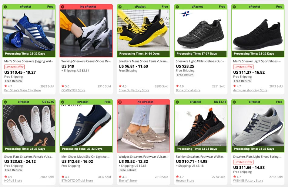 How to dropship sneakers from AliExpress