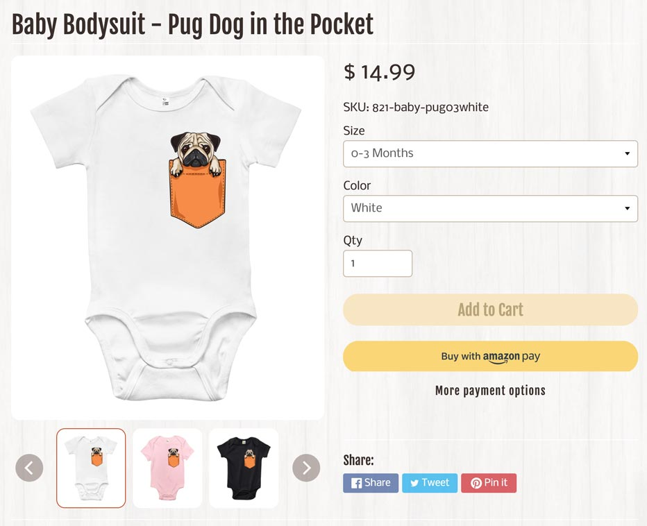 example of a poor Shopify product title with descriptive elements