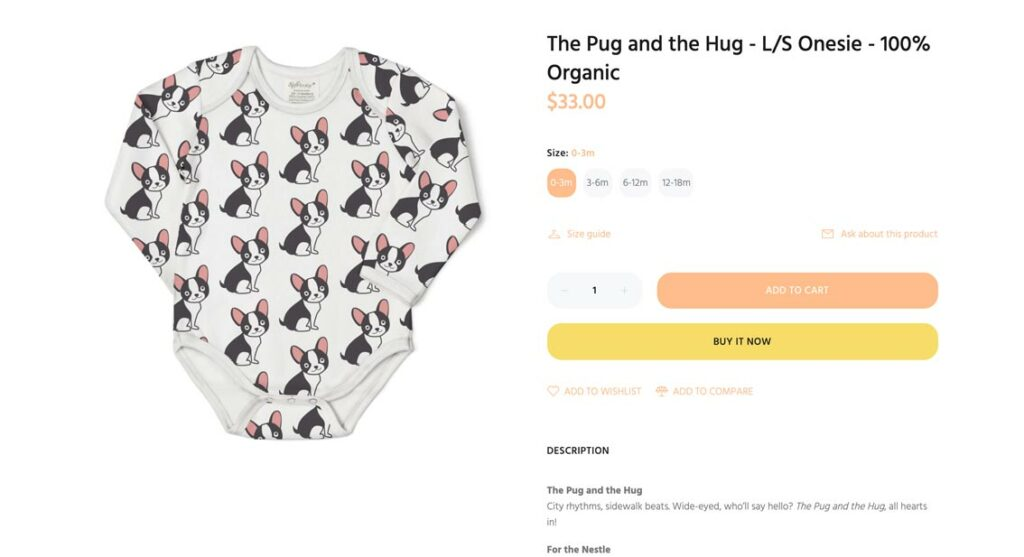 Example of a good Shopify product title with emotional value, branding and optimized for SEO