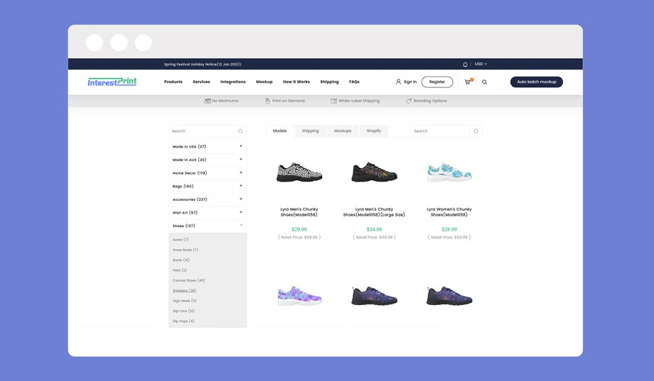 interestprint personalized sneaker dropshipping through print on demand