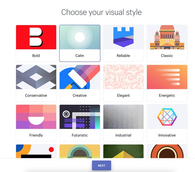 step 2 of the Shopify logo creation tool: choose your visual style