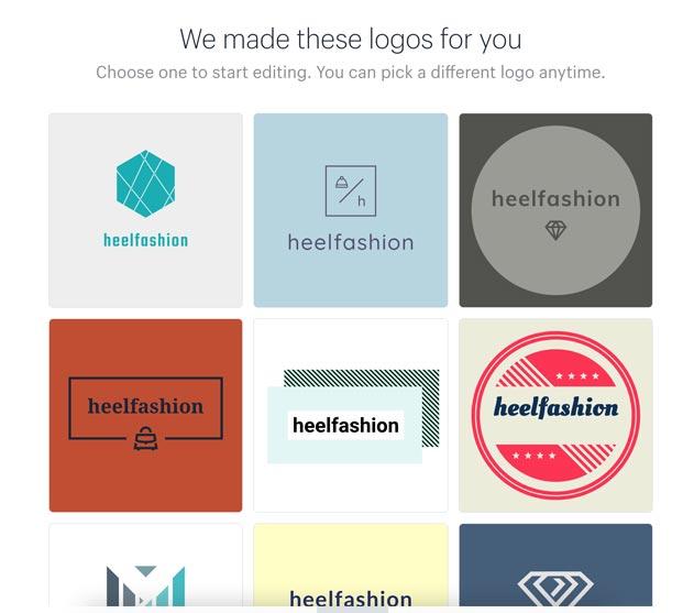step 5 of the Shopify logo creation tool: pick a pre-designed logo